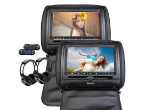 Dual Car Headrests CD DVD Player 9Inch 800*480 LCD Screen Audio Black Leather-Style Car DVD/Multimedia Headrest support Remote Control USB SD IR FM Transmitter Free 2 IR Infrared Headphones include