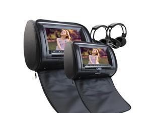Free 2 IR Infrared Headphones include Dual Car Headrest CD DVD Player 7Inch 800*480 LCD Screen Audio Black Leather-Style Car DVD/Multimedia Headrest support Remote Control USB SD IR FM Transmitter