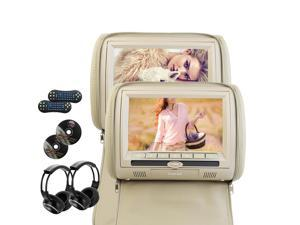Two Headrests DVD Player Universal 9inch LCD Screen Auto Monitor support USB SD IR FM Transmitter Games Multimedia Car Leather Headrest CD DVD Video MP5 Player include Wireless Remote Control 2pcs I
