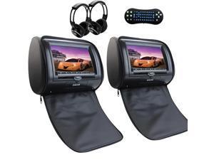 "Free Remote Control + Ir Headphone Dual Headrest Car Video DVD Player 7"" Touch Pillow Monitor FM IR Transmitters support 32 Bit games USB/SD/MS/MMC card"