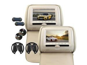 Two Pairs of 7Inch Car Headrest CD DVD Player Meige Color LCD Screen Monitor support USB SD IR FM Transmitter Auto entertainment system Include 2 IR Wireless Headphones Car Pillow Monitor +Remote Co