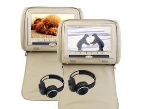 Car Dual Twin 9'' LCD Screens EinCar 2PCS Pair of Headrest Car Pillow Monitors Multi Region DVD Player 32 Bit Games IR/FM Transmitter USB SD Unit System + 2 x IR Headphones