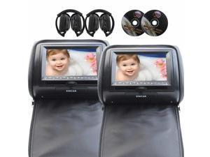 EinCar 7'' LCD Monitor Car Headrest Support IR FM Transmitter with 2 DVD Player Dual Screen USB SD MMC with Pair of Wireless IR headphones(Black)