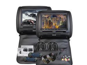 Free IR Headphone x 2 included EinCar Universal Pair of Car Headrests with 9 Inch HD Digital Screen Dual Region Free DVD Player for Car Support USB SD IR FM Transmitter