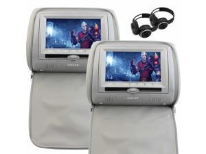 EinCar Dual Car DVD Player Screen 7 Inch LCD Headrest Monitor Built-in IR FM Transmitter Support USB SD 32 bit Games with Game Controller/Disc/Headphones x 2