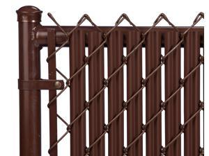Chain Link Brown Single Wall Ridged Privacy Slat For 5ft High Fence Bottom Lock