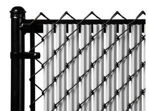 Chain Link Gray Single Wall Ridged Privacy Slat For 8ft High Fence Bottom Lock