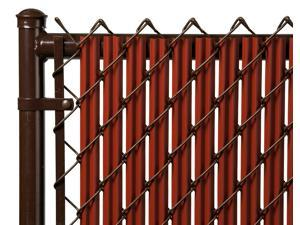 Chain Link Redwood Single Wall Ridged Privacy Slat For 8' High Fence Bottom Lock