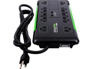 Plugable 12 AC Outlet Surge Protector with Built-In 10.5W 2-Port USB Charger