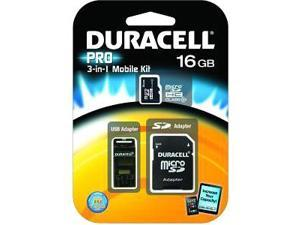 Duracell Du-3in1-16g-c Class 4 Microsd(tm) Card With Universal Adapter (16gb)