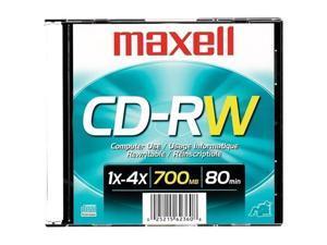 Maxell MAX630010 CD-RW, 1-4X, 700MB-80MIN, Branded, Slim Case
