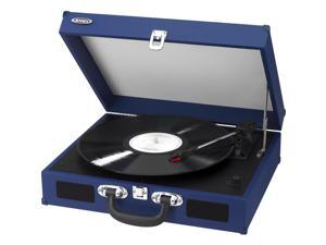 JENSEN JTA-410-BL Portable 3-Speed Stereo Turntables with Built-in Speakers (Blue)