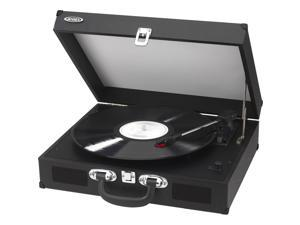 JENSEN JTA-410-BLK Portable 3-Speed Stereo Turntables with Built-in Speakers (Black)