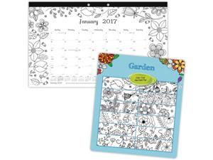 Blueline Garden Design Monthly Coloring Desk Pad Calendar