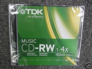 TDK CDRW80TWN 80 Minute Music/ Consumer Use CD-RW *(10 Pack)    Music Only CD-RW    The Only Music CD-RW In The World    TDK Ultimate Quality