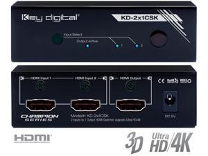Key Digital KD-2x1CSK 2 Inputs to 1 Output HDMI Switcher Supports Ultra HD/4K