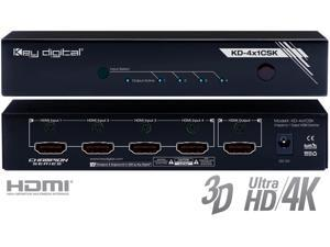 Key Digital KD-4x1CSK 4 Inputs to 1 Output HDMI Switcher Supports Ultra HD/4K