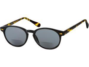 Readers.com The Drama Bifocal Sun Reader +1.25 Black and Tortoise with Smoke  Unisex Round Reading Sunglasses