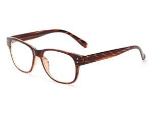 Readers.com The Bates +2.50 Brown/Clear Stripes Reading Glasses