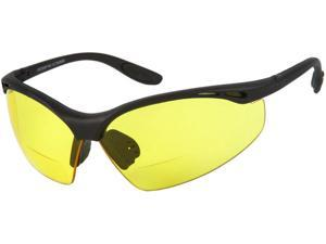 Readers.com The Clark Bifocal Safety Reader  +1.50 Matte Black Frame with Yellow Lenses  Unisex Sport & Wrap-Around Reading Sunglasses