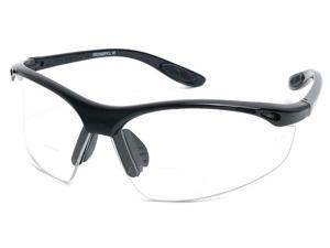 Readers.com The Cooper Bifocal Safety Reader +2.50 Matte Black Frame with Clear Lenses  Mens Sport & Wrap-Around Reading Glasses