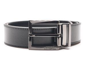 Versace Collection Men's Adjustable Stainless Steel Buckle Leather Belt Black