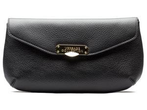 Versace Collection Women Pebbled Leather Clutch Handbag Black