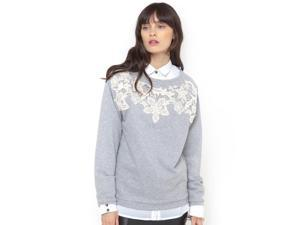 La Redoute Womens Sweatshirt With Guipure Lace Inset Grey Us 12/14 - Fr 42/44