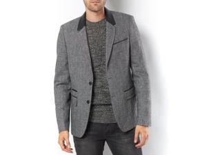 La Redoute Mens Blazer With Faux Leather Collar And Flap Pockets Grey Us 12