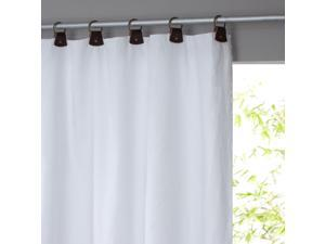 La Redoute Private Linen Curtain With Leather Loops White Size 140 X 260 Cm