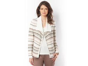 Womens Jacquard Cardigan With Asymmetric Panels
