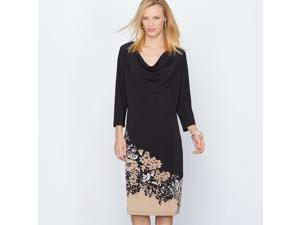 La Redoute Womens Printed Crepe Knit Dress Black Size Us 10 - Fr 40
