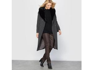 Womens Double-Breasted Wool And Cashmere Coat, Length 100 Cm