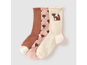 Abcd'r Girls Pack Of 3 Pairs Of Fox Motif Socks, 3-12 Years Green Size 19/22