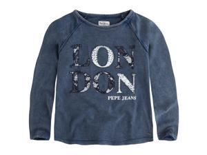 Pepe Jeans Teen Girls Used Effect Sweatshirt, 8-16 Years Blue 8 Years - 49 In.