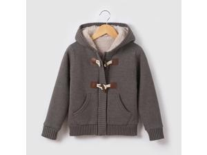 Boys Hooded Cardigan With Faux Fur Lining, 3-12 Yrs