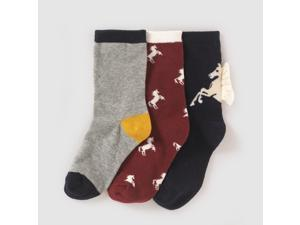 Abcd'r Girls Pack Of 3 Pairs Of Horse Motif Socks Other Size 19/22