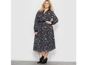 Castaluna Womens Floral Print V-Neck Maxi Dress Black Size Us 14 - Fr 44