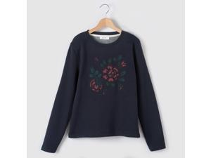 Girls A-Line Sweatshirt With Embroidered Flowers, 10-16 Years