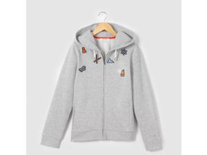 R Pop Girls Zip-Up Hoodie With Badges, 10-16 Years Grey Size 10 Years - 54 In.