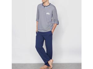 Athena Mens Pyjamas With Grandad Neckline Blue Size Xl