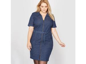 Castaluna Womens Short-Sleeved Denim Zip-Up Dress Blue Size Us 24 - Fr 54