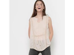 Vero Moda Womens Vmsilja Sleeveless V-Neck Blouse With Tassel Trim Pink Size L