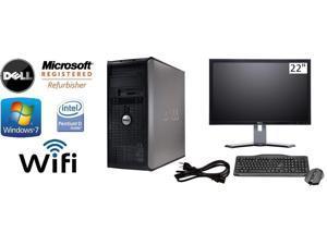 """Dell Optiplex 745 Tower Win 7 Pro 64 Bit 3.4 GHz Pentium D 8GB DDR2 250GB HDD DVDRW Wifi + DELL 22"""" LCD"""