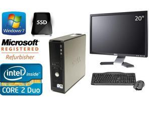 "Dell Optiplex 780 SFF Win 7 Pro 64 Bit 3.0 GHz Core 2 Duo 8GB DDR3 120GB SSD DVDRW + DELL 20"" LCD"