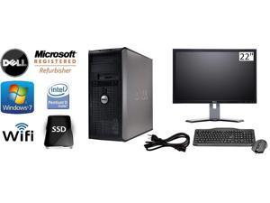 """Dell Optiplex 745 Tower Win 7 Pro 64 Bit 3.4 GHz Pentium D 8GB DDR2 240 GB SSD DVDRW Wifi + DELL 22"""" LCD"""