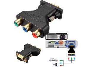 3 RCA RGB Video Female To HD15-Pin VGA Component Video Jack Adapter