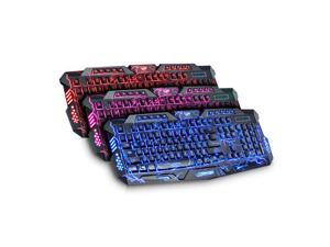 V100 Crack Illuminated LED Backlight PC Gaming Keyboard Multimedia USB Wired Keyboard