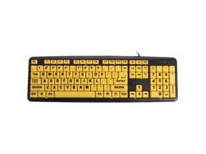 Large Print USB Computer Keyboard High Contrast Yellow Keys Black Letter for Elder