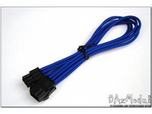 "Darkside 6-Pin PCI-E 12"" (30cm) HSL Single Braid Extension Cable - Blue UV (DS-0233)"